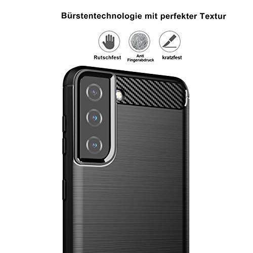 betterfon Hülle für Samsung Galaxy S21 5G - Handyhülle Samsung S21 5G Carbon Case TPU Silikon Cover Bumper für Galaxy S21 5G SM-G991B Schwarz
