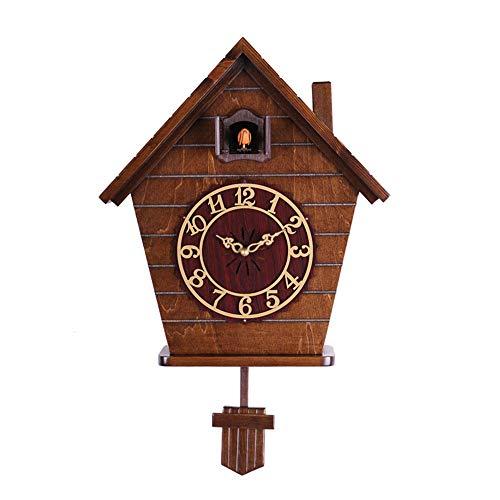 Massief hout Cuckoo Klok, Moderne Eenvoudige Effen Hout Chalet Muziek Wandklok Koek Zwart Woud Antieke Klok Quartz Pendulum Wandklok Home Decor