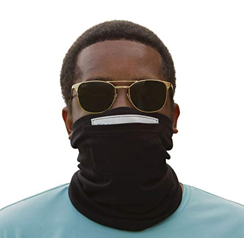 EMF Protection Neck Gaiter by Halsa. Silver Fiber Fabric. Radiation Protection from 5G, 4G, WiFi, Cellular, Bluetooth and More. Filter Included.