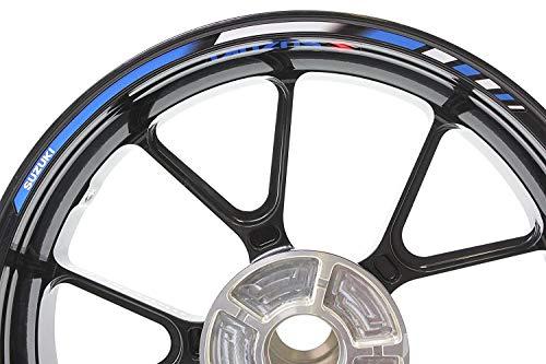 Suzuki Motorfiets velgenstickers SpecialGP donkerblauw en wit complete set stickers