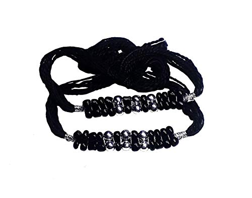 Starlet Silver 92.5% Sterlling Silver Exclusive Evil Eye Nazariya Thread with Silver Beads (Crystal) for Baby Girls and Boys