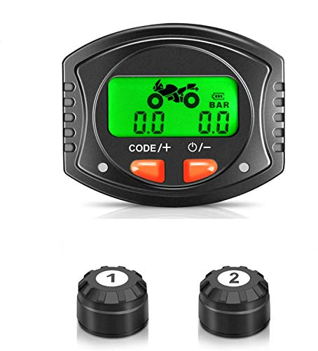 BARTUN Wireless Tire Pressure Monitoring System for Motorcycles Supports Android and iOS Real-time Displays 2 Tires Pressure and Temperature TPMS Yellow