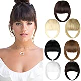 Bangs Hair Clip Extension French Bang Clip in Thick Natural Full Front Neat Bangs Straight Fringe Bang with Temples One Piece Hairpiece Ash Blonde