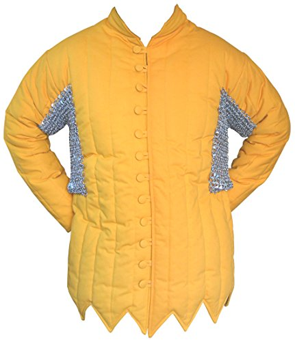 Cotton Gambeson Round Riveted Chain Mail Voider in Galvanized Finish ABS (YELLOW, 54)