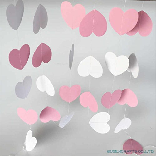 OTNZQZYF Pink White Rose Color Sparkles Circle Paper Garland, Paper Banner, Bridal Shower,Birthday Party Mixed 02