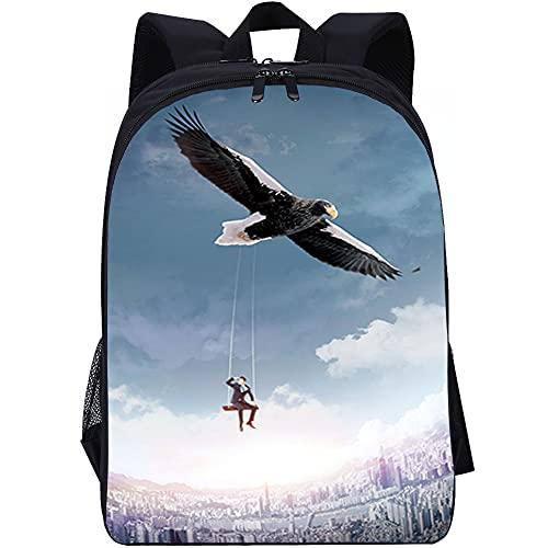 Flying eagle animal Mochila escolar, mochila para computadora portátil para niños y niñas, compatible con computadora portátil de 15,6 pulgadas, mochila ligera unisex