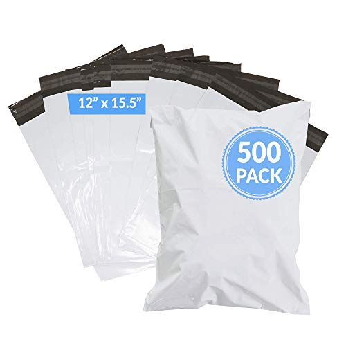 Reli. Poly Mailers 12x15.5 | 500 Pcs Bulk | Shipping Envelopes / Shipping Bags | White Packaging Bags for Shipping | Non-Padded Polymailers, Self Sealing Mailing Bags for Clothing, Bulk (White)