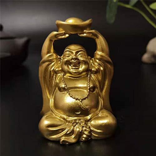 YURASIKU Mini Golden Laughing Buddha Statue Wealthy Lucky Auspicious Buddha Figurine Sculpture for Home Office Decoration