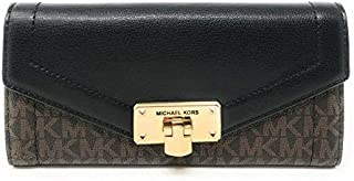 Kinsley Large Carryall Wallet Brown Signature Black Leather