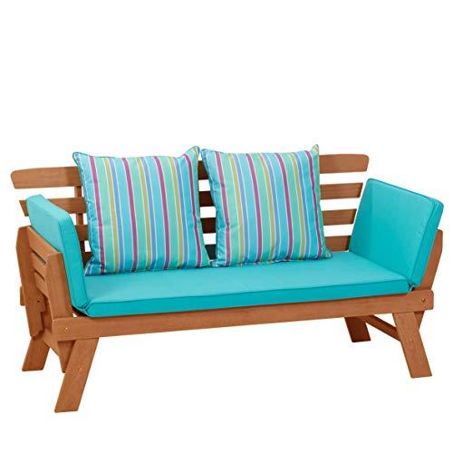 greemotion Multifunktionsbank Borkum akazie/blau, inklusive Kissen, als Sofa und Liege nutzbar, Gartenbank aus FSC® Akazienholz, Holzbank mit leicht schräger Rückenlehne - 3