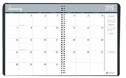 House of Doolittle 2018 Calendar Planner, Monthly, Black Cover, 8.5 x 11 Inches, December - January (HOD26202-18)