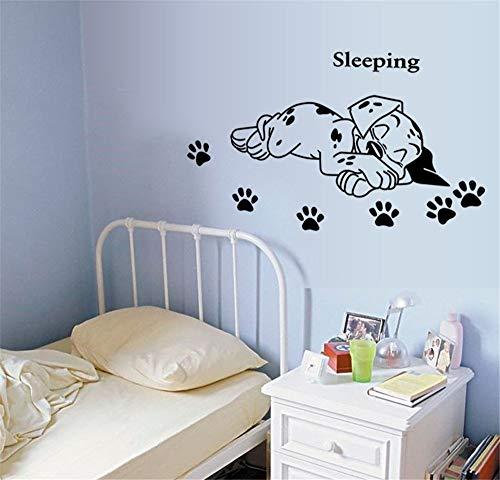 ufengke Karikatur Niedlichen Schlafenwelpe Hund Pfotenabdrücke Wandsticker,Kinderzimmer Babyzimmer Entfernbare Wandtattoos Wandbilder