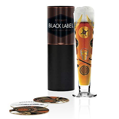 Debora Jedwab RITZENHOFF Black Label - Vaso de cerveza (cristal, 300 ml, incluye 5 tapas)