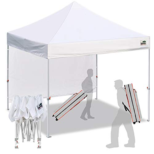 Eurmax 10'x10'Pop Up Canopy Tent Commercial Canopies with Heavy Duty Roller Bag,Bonus 4 sandbag weights for canopyWhite