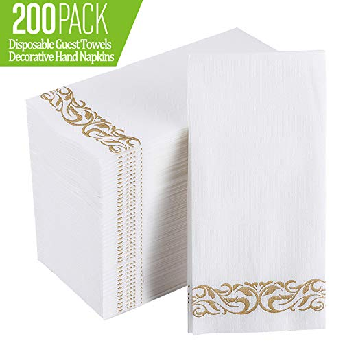 [200 Pack] Disposable Guest Towels Soft and Absorbent Linen-Feel Paper Hand Towels Durable Decorative Bathroom Hand Napkins for Kitchen,Parties,Weddings,Dinners or Events,White and Gold
