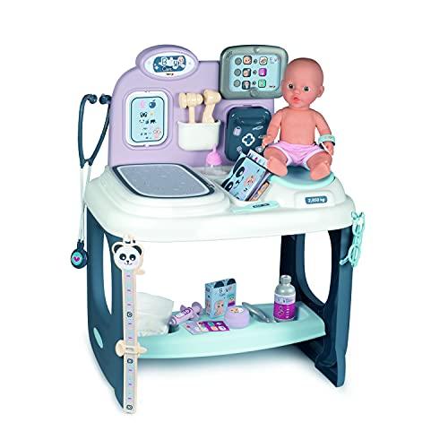 Smoby – Baby Care Center - für Puppen bis 38 cm – mit mechanischer Waage, Untersuchungstisch und alles was zu einem Artzbesuch gehört, für Kinder ab 3 Jahren