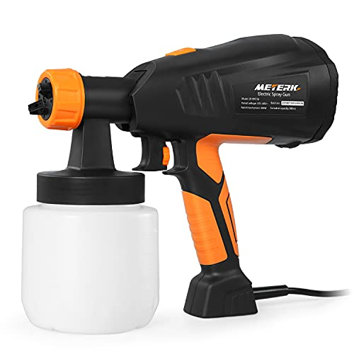 Paint Sprayer, Meterk HVLP Electric Paint Sprayer Gun, with 3 Spraying Patterns & 3 Nozzles, Easy to Clean, for Furniture, Fence, Car, Cabinet, House Painting
