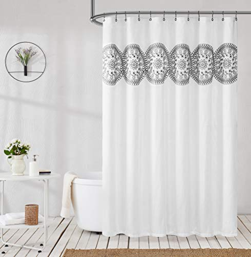 Jubilantex Embroidered Shower Curtain Fabric for Bathroom, Black and White Boho Farmhouse Floral Decorative Chic Rustic Style Water Resistant Bath Room Curtain for Spa Hotel, 70x72 Inches