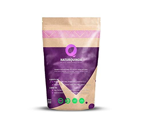 Naturquinoa – Quinoa istantanea in polvere 100% naturale. Quinoa senza glutine con vitamine, amminoacidi e antiossidanti – contiene una busta di 500 gr di Quinoa, una bustina monodose e una ricetta