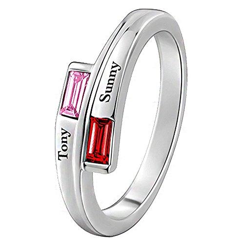 Soufeel Damen Ring Personalisiert mit Swarovski Zirkonia Stein Geburtsstein & 2* Namen Gravur Rhodiniert 925 Sterling Silber (Steine wählbar) Geschenk für Valentine Jahrestag Geburtstag