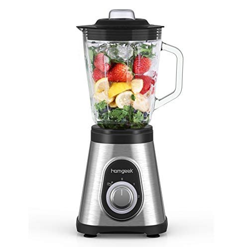 Blender Smoothie Maker 700W, homgeek 1.5L Glass Smoothie Blender with 6 Stainless Steel Blades, 3 Adjustable Speeds for Milk Shake, Frozen Fruit and Ice Crush , 27,000U/Min High Speed, Low Noise