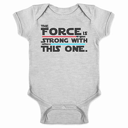 The Force is Strong with This One Gray 6M Infant Baby Boy Girl Bodysuit