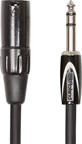 Cable de interconexión balanceado de la serie Black de Roland — De TRS macho de 1/4 de pulgada a XLR macho, 1,5m de longitud - RCC-5-TRXM