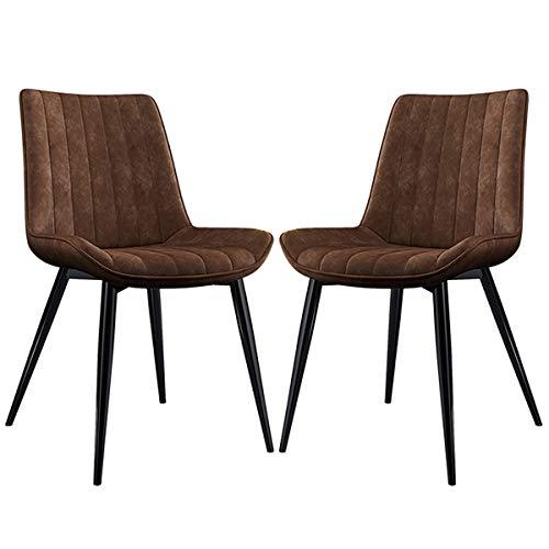 ZYXF Sillas Comedor Conjunto de 2 Sillas Esquina Cuero PU Asiento y Respaldos con Patas Metal Clásico Sillas Cocina for sillas Restaurante (Color : Brown, Size : Black Legs)