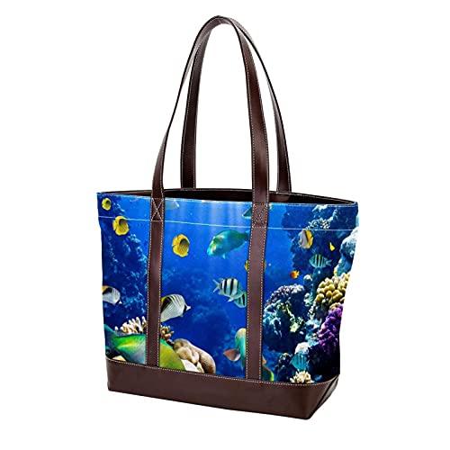 NaiiaN Bolsos Bolso de mano Tropical Fish Sea Ocean World Coral Reef Monedero Compras Bolsos de hombro Correa liviana para madres Mujeres Niñas Señoras Estudiante