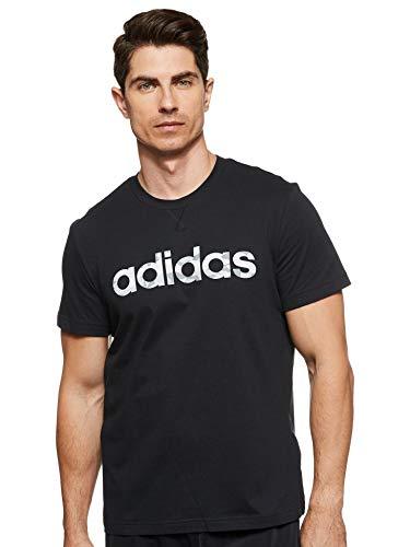 adidas E Camo Lin tee T-Shirt, Hombre, Black/White/Grey One f17/grey Three f17, L