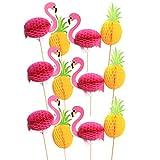 Happyyami 16 Piezas Flamingo Cake Topper cumpleaños piña Decoraciones de...