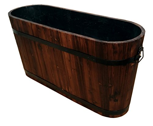 Eigenmarke Holzbottich Oval aus Massivholz rustikales Holzfass Getränkekühler Gartenfass