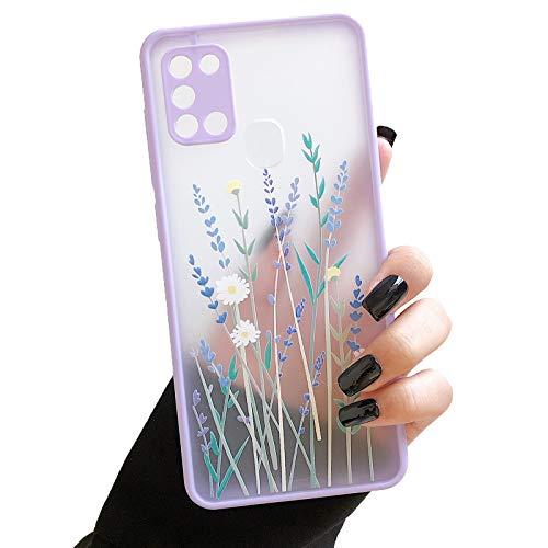 ZTOFERA Hülle für Samsung A21S, Durchscheinend Liquid Silikon Hülle mit Blume Design, Weich Flexibel Anti-Kratzer Schutzhülle für Samsung Galaxy A21S - Helles Lila