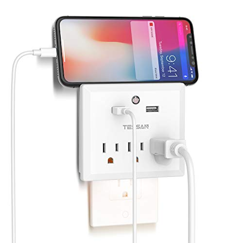 Multi Plug Outlet Extender with USB Wall Charger and Night Light, 3 Electical Outlet Splitter 2 USB Phone Charger Wall Plug for Cruise Essentials, Multiple Power Outlet Expander with Charging Station