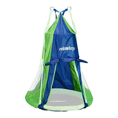 Relaxdays, blau-grün Zelt für Nestschaukel, Bezug für Schaukelsitz bis 90 cm, Rundschaukel Zubehör, Garten Schaukelnest