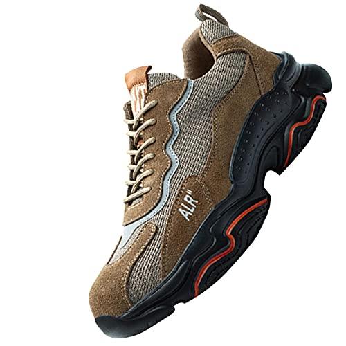 Acero Ultraligero Zapatos de Trabajo,Trabajo con Puntera de Acero Transpirable Botas de Seguridad,Khaki▁37
