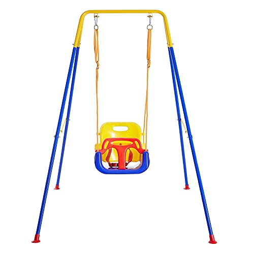 FUNLIO 3-in-1 Swing Set for Toddler with 4 Sandbags, Heavy-Duty Kid Swing Set with Safety Harness, for Backyard, Indoor/Outdoor Play, Folding Metal Stand & Clear Instruction, Easy to Assemble & Store
