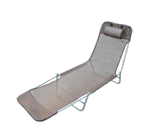 HOMCOM Chaise Longue Pliante Bain de Soleil inclinable transat textilène lit Jardin Plage 182L x 56l x 24,5H cm Chocolat