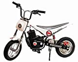 Burromax White TT250 Electric Motorcycle Dirt Bike for Kids   Fast and Long Lasting 24V 250W Charge   Ride On Mini Pocket Bike for Street & Off Road