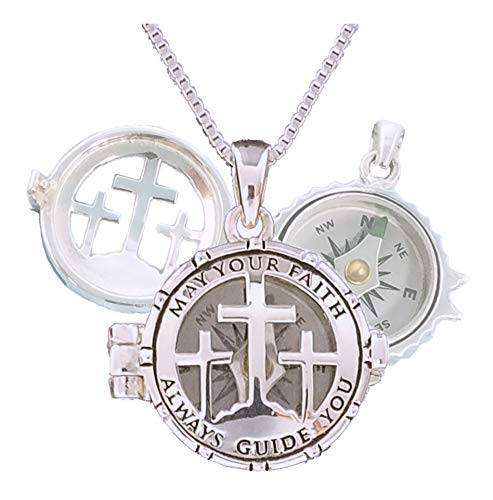 Personalized Working Compass Necklace Engraved - Sterling Silver Compass Locket for Baptism, Confirmation, First Communion, or Birthday Gift (No Personalization)