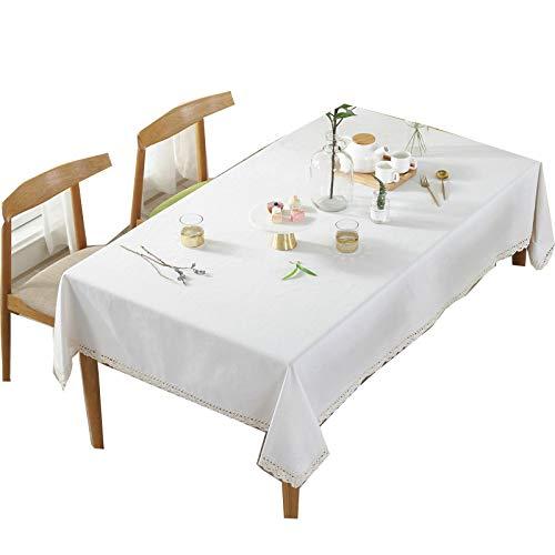 dingtian Mantel blanco mantel de mesa de estilo moderno rectangular cubierta de la mesa de té del gabinete de TV decoración a prueba de polvo cubre hotel boda mantel de aproximadamente 140x180cm A