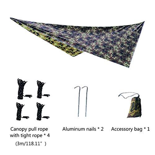 CADANIA Voile d'ombre de Soleil, bâche de Tente de Mouche de Pluie de hamac 10 x 10 pi Grand abri de bâche de Camping imperméable UV-360 * 290 cm Losange
