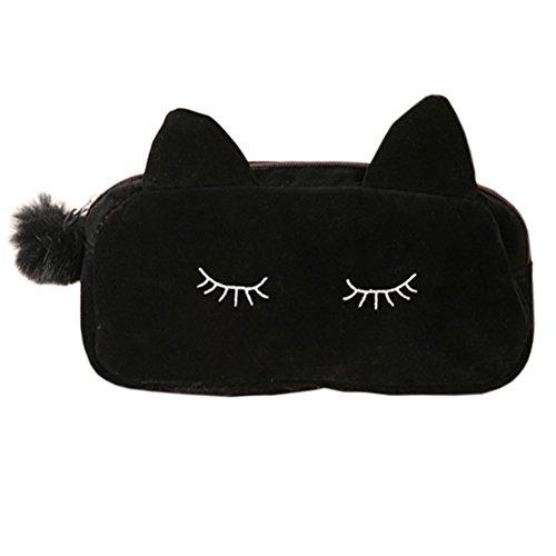 Style coréen Sac cas cosmétique de maquillage waterproof Beauty Case Cat Noir