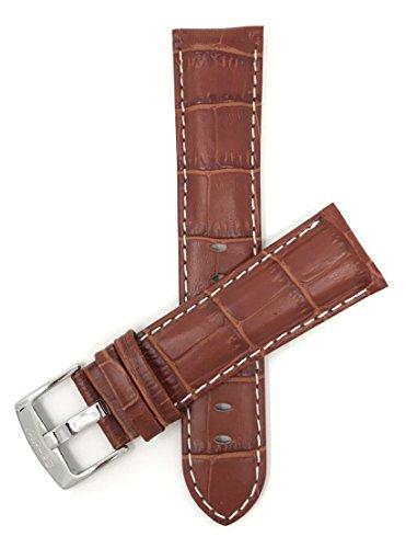24mm Correa reloj de cuero auténtico, Marrón Rojizo Oscuro, con costura blancoa, Aligator grano, hebilla de acero inoxidable, también disponible en negro, marrón, azul, rojo, marrón rojizo