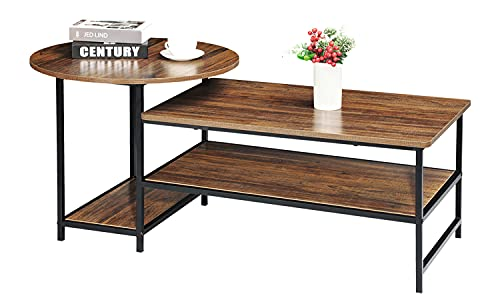 WOHOMO Coffee Table, Industrial Round Coffee Table set