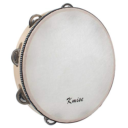 Kmise Wood Handheld Tambourine 10' Inch Single Row 8 Pair Bell Birch Metal Jingles Hand Held Percussion Drum for Kids Adults Classroom Church KTV Party Gift