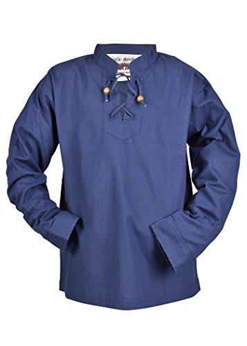 Kinder Mittelalter-Hemd Colin Kinderkleidung Ritterhemd LARP Mittelalter Fasching (Blau/164)