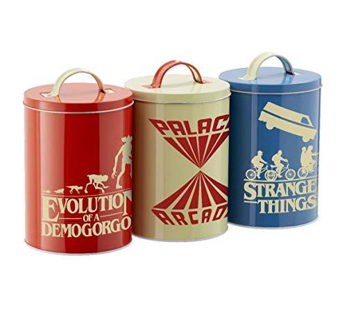 Stranger Things - Juego de 3 latas de cocina retro – Demogorgon – Logo