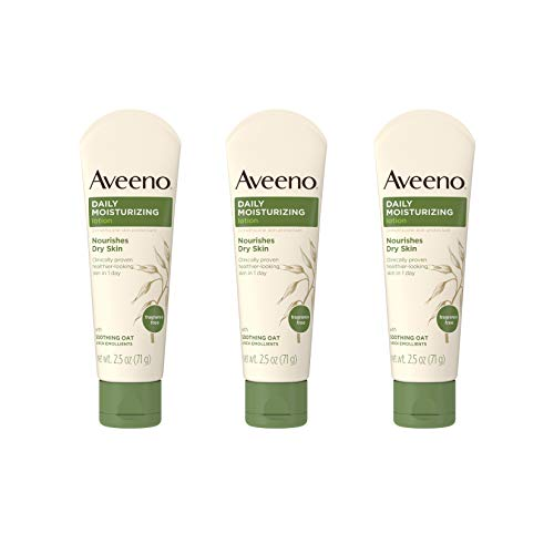 Aveeno Daily Moisturizing Body Lotion with Soothing Oat and Rich Emollients to Nourish Dry Skin, Gentle & Fragrance-Free Lotion is Non-Greasy & Non-Comedogenic, 18 Fl O
