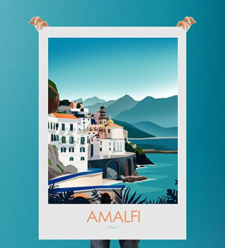 Mug Creatory Limited Edition - Amalfi Italy Print - Italy Poster | Travel Poster | Travel Print | Amalfi Coast Vertical Poster 24x36